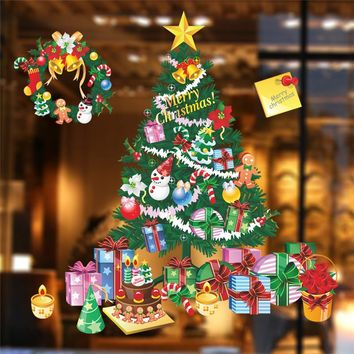 * Christmas Tree Gift Wall Stickers Living Room Bedroom Wall Decals Christmas New Year Window Gift Home Decor Mural Poster