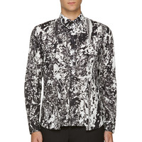 Mcq Alexander Mcqueen Black And White Marbled Shirt