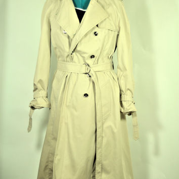 Vintage London Fog Trench Coat Made in the USA// Plus Size Lady's All Weather Coat
