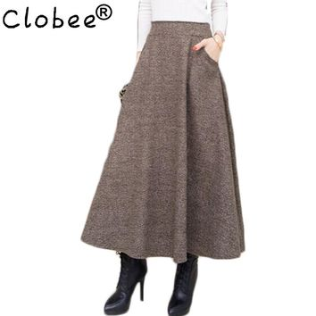 2017 Woolen Autumn Winter Plus Size A Line Midi Wool Skirt Faldas Mujer Women High Waist Long Maxi Tutu Pleated Skirt Saias