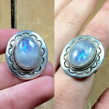 vintage sterling silver rainbow moonstone ring - size 6 1/2 ring