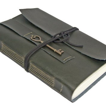 Large Faux Leather Journal with Heart Key Bookmark - Choice of 6 colors