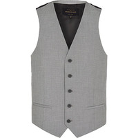 River Island MensLight grey single breasted vest