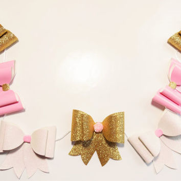 Pink and gold nursery, Glitter bow garland, pink gold and white bow garland, bow bunting, baby shower, nursery decor, baby girl, photo prop