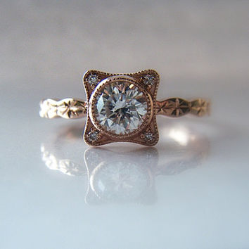 Diamond Engagement Ring Hand Engraved 14K Rose Gold Star Pattern Diamond Accents
