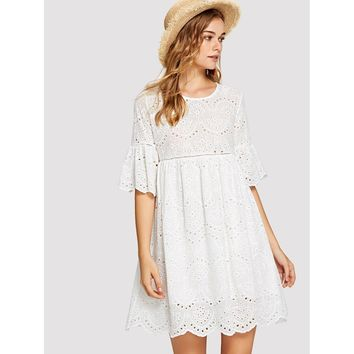 Laddering Lace Insert Eyelet Embroidered Dress White