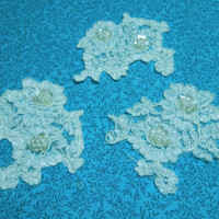 Set of 3 White Embroidered lace yokes appliques for bridal, wedding dress, clothing, altered couture, baby, bridal by MarlenesAttic