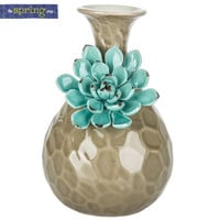 Gray Vase with Aqua Flower | Hobby Lobby | 5785894