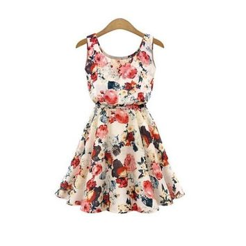 2015 New Lady Floral Print Vest Skater Dress Tank Scoop Neck Sleeveless Mini Elastic Waist Dresses Beige Prefashion = 5738869249