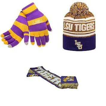Licensed NCAA LSU Tigers Glove Stripe Knit Spirit Scarf And Driven Beanie Hat 3Pk 75472 KO_19_1