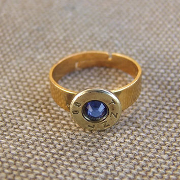 Bullet Ring Bullet Shell with swarovski crystal steampunk