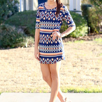 Out and About Dress - Navy and Orange