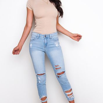 Can't Help It Distressed Jeans - Light