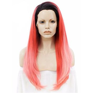 Long Black Root To Light Red Ombre Straight Synthetic Lace Front Wig