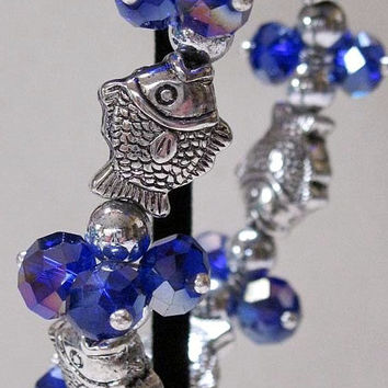 Fish Bracelet Rinestone Medium Blue Aurora Borealis Crystal Beads,Silver Beads,Stretch Bracelet Beach, Ocean