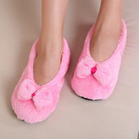 Hot Selling Lovely Big BowKnot Warm Soft Sole Women Indoor Floor Slippers/Shoes Bow Tie Flannel Home Slippers