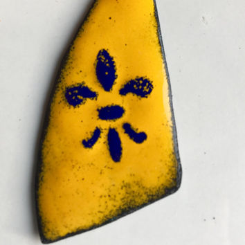Enamel on Copper Pendant, Marigold Yellow, Mustard Yellow, Cobalt Blue, Fleur De Lis, Destashed Pendant, Etsy, Etsy Supplies, Jewelry Supply