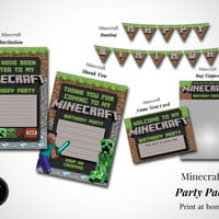 Minecraft Birthday Party Printable Pack *Instant Download* Minecraft Birthday Invitation, Thank You. Minecraft Banner, Bag Topper, PlaceCard