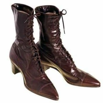 Vintage Ladies Victorian High Top Lace Up Boots Cherry Brown 1919 Size 4
