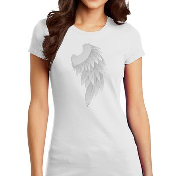 Single Right Angel Wing Design - Couples Juniors T-Shirt