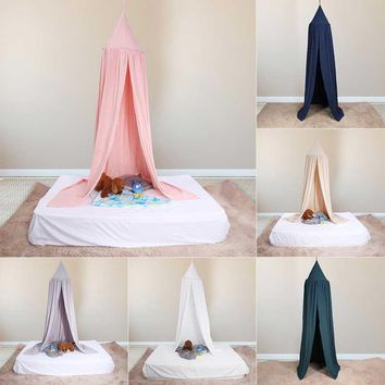 Pink Kids Boys Girls Princess Canopy Bed Valance Kids Room Decoration Baby Bed Round Mosquito Net Tent Curtains hot