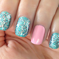 Little Mermaid  BlueTeal Silver Pink Prism Glitter Nail by ILoveNP