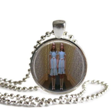 The Shining's Grady Twins Silver Plated Picture Pendant Necklace