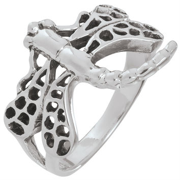 Dragonfly Curving Tail Sterling Silver Ring