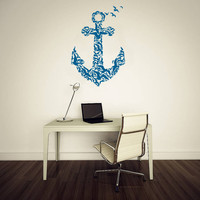 Wall Decal Vinyl Sticker Decals Art Decor Design Anchor Sailor Seagull Birds Sea Water Gift Men Modern Bedroom Dorm (r300)