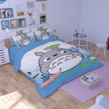Cool Japanese Anime My Neighbor Totoro Bedding Sets Twin Queen King Size Flat Bed Sheets Duvet Cover Children Bedroom Set bedclothesAT_93_12