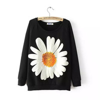 Casual Black Sunflower Print Long Sleeve Sweat Shirt