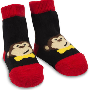 Red and Black Monkey Baby Boy Socks