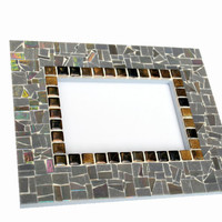Gray Mosaic Mirror, Wall Mirror, Decorative Mirror