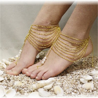 Foot jewelry, gold barefoot sandals, Boho, bohemian, barefoot sandal beach, barefoot sandle, Grecian, wedding, bridal, beach, festival, GRECIAN GODDESS | BF16