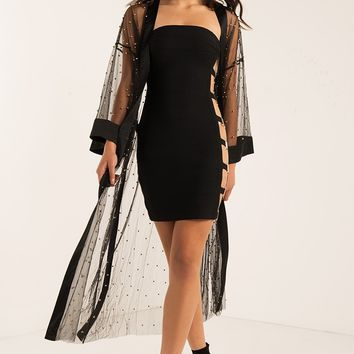 AKIRA Sheer Mesh Studded Belted Long Sleeve Duster Coat in Black
