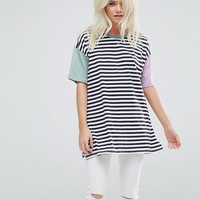 ASOS PETITE Top in Oversized Cutabout Color Block Stripe at asos.com