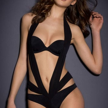 Black Halter Backless Cutout Swimsuit