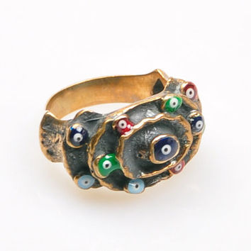 Authentic Ottoman Style Evil Eye Ring, Turkish Jewelry, Jewelry Findings, Boho Ring, Gypsy Style