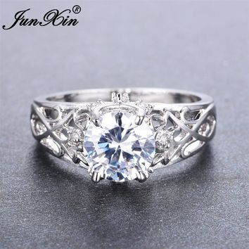 JUNXIN Female Round Ring 2017 New Fashion White Gold Filled Jewelry Vintage Wedding Rings For Women Birth Stone Gifts