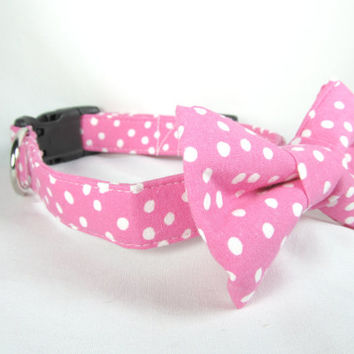 Designer Dog Collar and bowtie  - bubblegum pink with polkadots - bowtie dog collar, pink dog collar