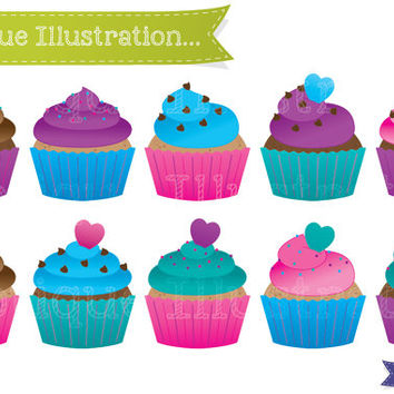 Cupcakes Clipart Set. Bight Cup Cakes Clip Art. Bright Cupcake Clipart. Colorful Cupcakes Clip Art. Cupcakes Vectors. Birthday Clipart.