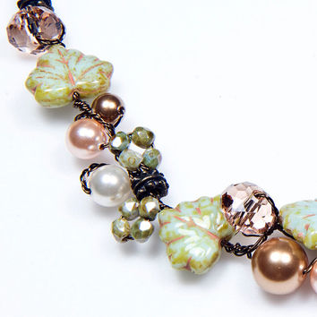 Green Peach Beaded Necklace Leaf Necklace by CherylParrottJewelry