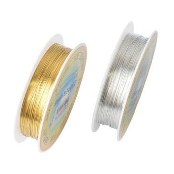 DCCKL72 0.25/0.3/0.4/0.5/0.6mm 1 Roll Alloy Cord Silver Gold Plated Craft Beads Rope Copper Wires Beading Wire Jewelry Making Free Sh ln