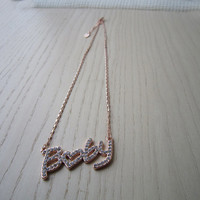 Rose gold necklace, letters, baby, crystal-studded, beloved baby, give love him, or her, the best gift, romantic