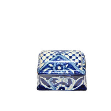 Vintage Blue and White Mexican Pottery Box Trinket Box Blue and White Jewelry Box Mexican Pottery Blue and White Pottery