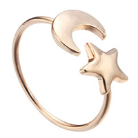 ONE PIECE Crescent moon and Tiny Star Ring Little animal Jewelry Luna half moon Gift knuckle ring kunckle above for women girls