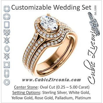 CZ Wedding Set, featuring The Mia Sofia engagement ring (Customizable Cathedral-Halo Oval Cut Style with Wide Split-Pavé Band)