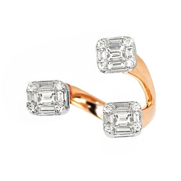 0.82tcw Round   Baguette Diamonds in 18K Two Tone Gold Cuff Ring df5992316755