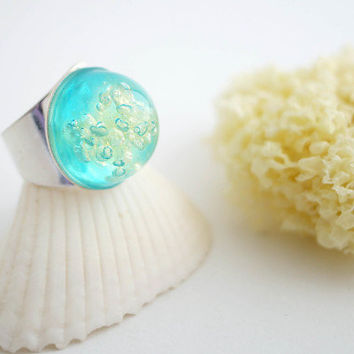 Sea Sponge Ring- Aqua ring- resin- ocean ring- seaweed jewelry