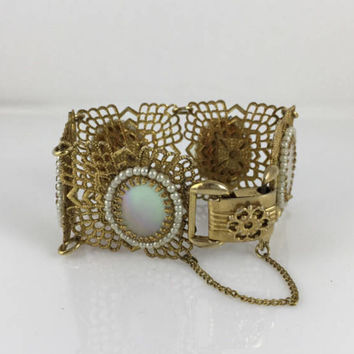 Art Deco Bracelet, Wide Filigree Links, Oval, Mother of Pearl, Brass Filigrees, Vintage Jewelry